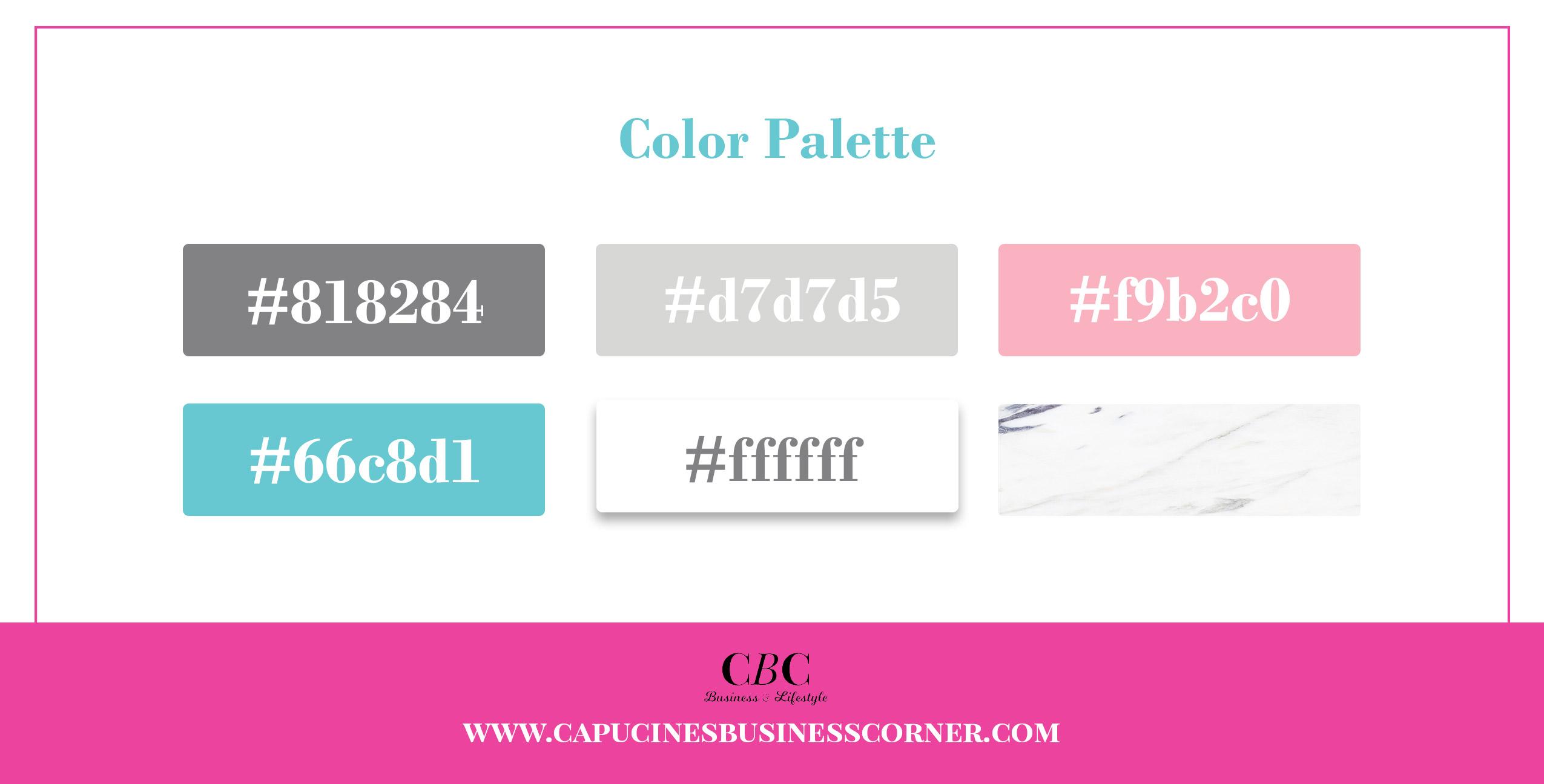 branding board Capucines-Business-Corner ccolor palette